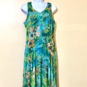 Blues Tropical Floral Sheer/Lined Long Dress - 14